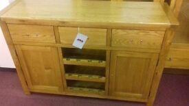 New Heart of House Kent Oak / Veneer Large Sideboard & Wine Rack ( RRP £449.99 OUR PRICE £199)
