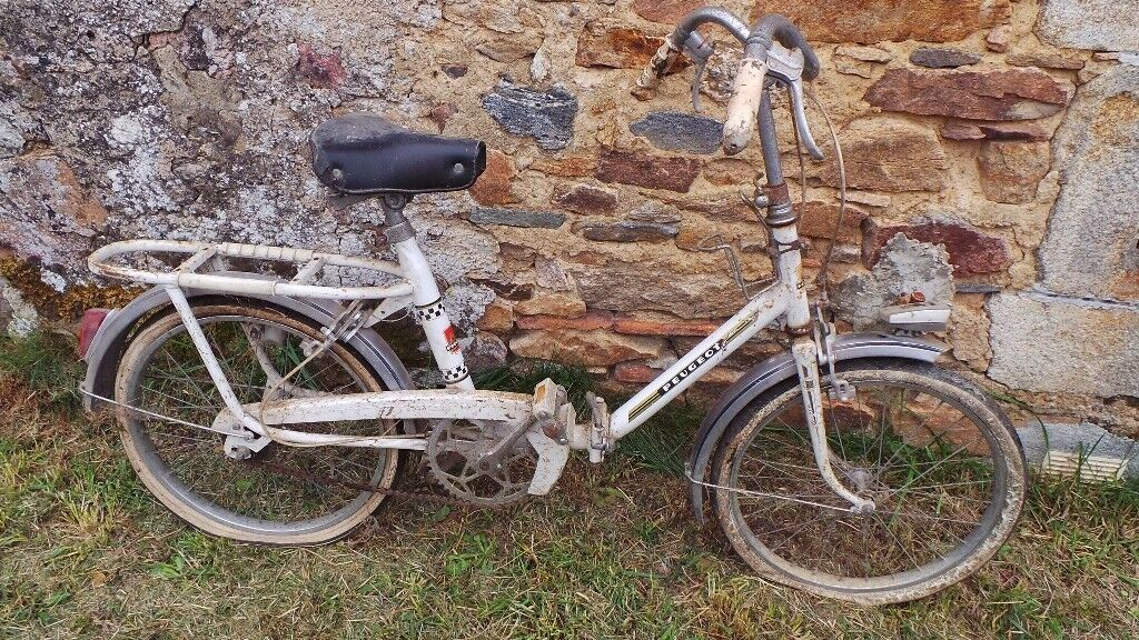 classic vintage french white peugeot folding bike bicycle cycle