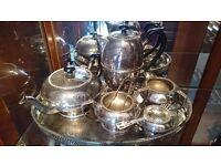 Beautiful Vintage Best Silver Plate hand Engraved Tea & Coffee Set