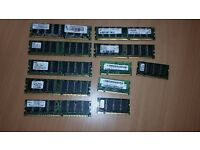 PC RAMs ( job lot about 16),processors and more