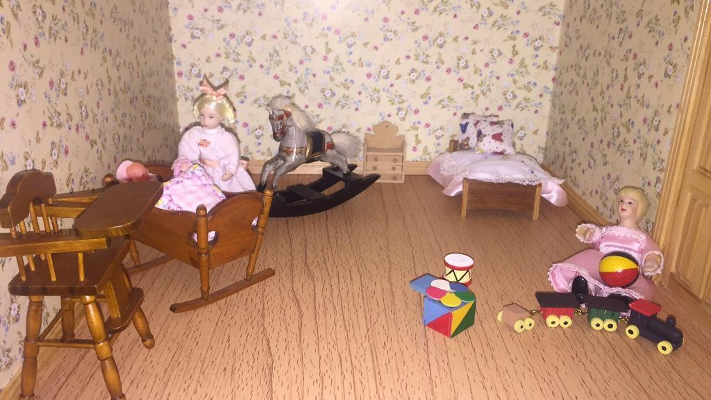 Doll house furniture and accessories bundle.