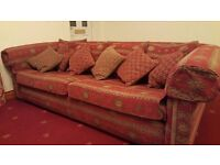 Fabric Duresta Red 4 Seater Sofa with 4 Large and 6 Small Cushions