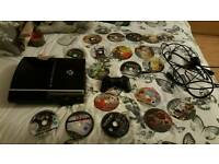 ps3 console with 19 games and 1 controller