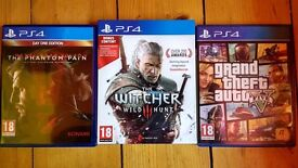 Metal Gear Solid 5, GTA 5, The Witcher 3 PS4
