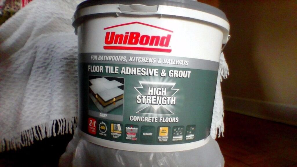 Unibond Floor Tile Adhesive And Grout Just Over 6kg Part Tub In