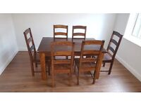 Heavy Solid Farmhouse Style Dining Table 6 Chairs - Great shabby Chic project