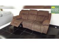 Designer brown fabric 3 seater sofa + chair (334) £599
