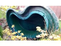 Pond - kidney shaped fibreglass. Maximumum dimensions 11' long x 7' wide x 2' deep.