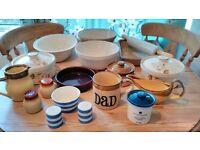 Big T.G Green Cookware / Tableware Bundle/Job Lot Casserole Dishes, Salt + Pepper Pots, Mug etc.