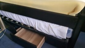 Brown Leather Trundle Bed sleeps 2