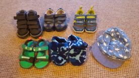 3 Pairs or Baby Shoes, 1 Pair of Sandles and 1 Pair of Slippers Sizes 4 to 5 and also a Cap.