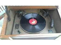 For sale radiogram with collection of records