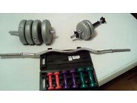 York Vinyl Barbell / Dumbbell Set inc Cast Bar 30kg and Vfit Dumbbell Set 6kg in box