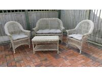 WEATHERPROOF RATTAN STYLE GARDEN PATIO SET AND TABLE WITH MATCHING CUSHIONS.