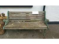 Wooden bench cast iron