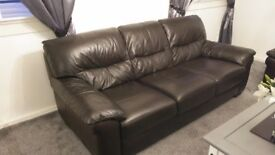 2 and 3 seater dark brown couches