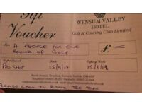 Voucher for 4 people 1 round of golf at wensum valley golf club Norwich