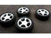 """Ford Mondeo 16"""" Ford Cosworth Style Alloy Wheels 4 Studs With 205-50-r16 Tyres 5.5mm of Thread"""