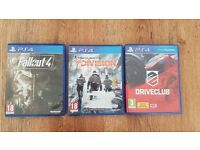 PS4 Games, Driveclub, The Division and Fallout 4 - £10 each