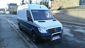mercedes sprinter new shape 1 owner low mileage 80,000 fsh 57 plate mwb high top 3850