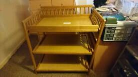 Baby change unit shelves wood good condition