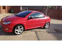 BEAUTIFUL AND WELL MAINTAINED BRIGHT RED PEUGEOT 206 CC, LOW MILEAGE £1200 O.N.O