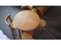 Childrens table 3 x chairs 1 x stool