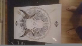 Cow skull canvas