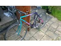 Bicycle with helmet, pump and lock