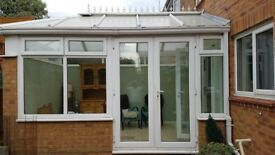 UPVC Conservatory double glazed windows and doors plus roof. White.