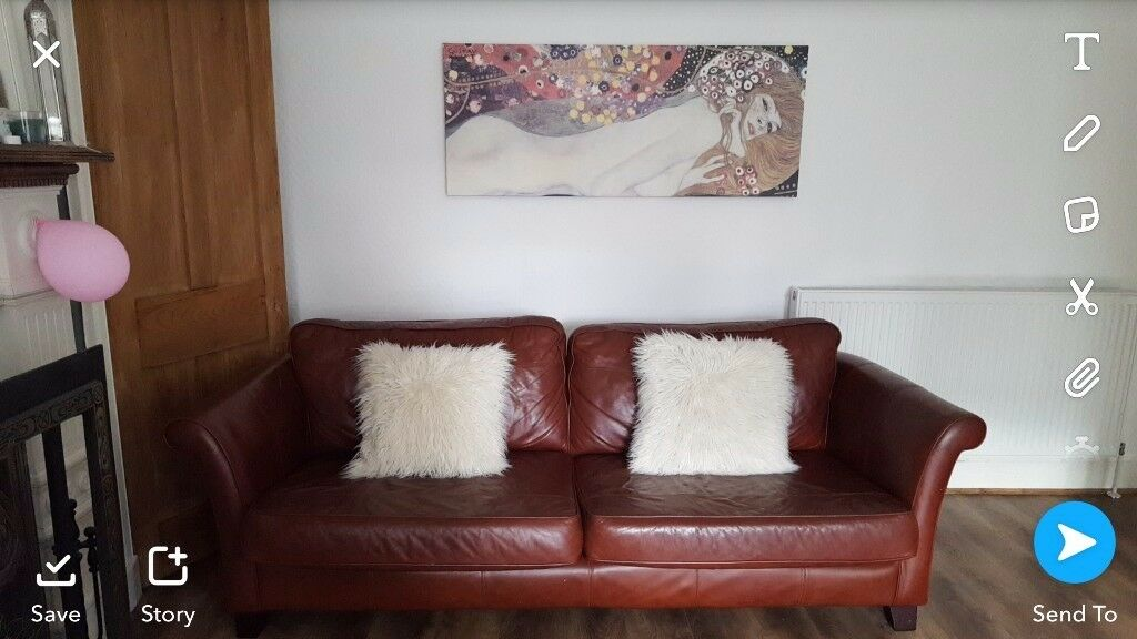 *SOLD* Leather Sofa Tan Excellent Clean Condition.