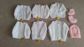 cardigans and jumpers 0 to 3 months, 3 to 6 months hand knitted.