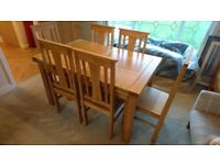 Solid Oak Extending Dining Table and six chairs
