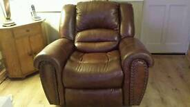 Brown leather reclining rocking chair