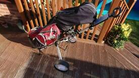 Full set of ryder z50 golf clubs with stand bag, trolley and extras