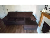 Next Garda Corner Sofa and Snuggle Seat. Chocolate Brown. Good condition. Collection Only