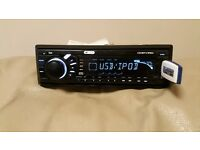 CAR HEAD UNIT CD MP3 PLAYER WITH USB IPOD CONTROL AUX AND RCA 4 x 50 WATT STEREO AMPLIFIER AMP