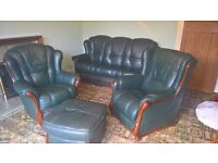 Leather Sofa, Recliner, Armchair and Footstool.