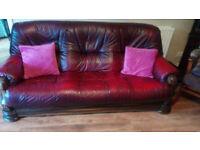 Oxblood Leather 3 Piece Suite Oak Frame