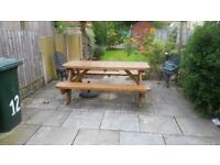 Large solid Pine Garden Bench seats 8