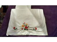 2 x LONG white linen vintage tablecloths with embroidery detail on the edge