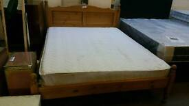 Solid pine kingsize bed frame and mattress good condition
