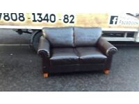 2 seater sofa in brown leather literally in mint mint condition £125