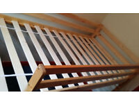 single loft bed wooden frame with marrtess