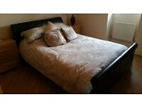 Chocolate Brown Leather King Size Sleigh Bed Includes Mattress