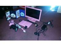 PINK PS2 WITH MONITOR AND 2 GAMES