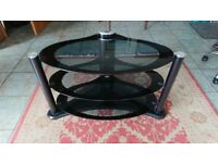Black glass and brushed steel TV stand