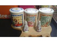 Johnson Brothers (Born To Shop) Tea,Coffee,Sugar Jars +Salt & Pepper Pots