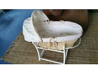Moses Basket with bedding and rocking stand - Mothercare