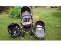 iCandy peach- carrycot, pushchair and car seat +cup holder- in very good clean condition